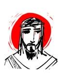 耶稣基督的手拉的墨水例证面对 向量例证