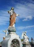 耶稣基督石头公墓雕象 免版税图库摄影