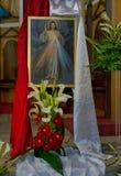耶稣基督绘画在教会里 免版税库存照片