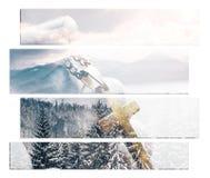 耶稣基督艺术用拿着金黄十字架有冬天背景的手优质 免版税库存图片