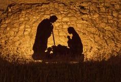 耶稣基督诞生的题材的圣诞节设施  免版税库存图片