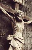 耶稣基督迫害了一个古老木雕塑 图库摄影