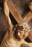 耶稣基督迫害了(一个古老木雕塑) 库存图片