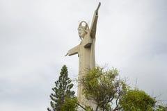 耶稣基督雕象在头顿,多云天空背景的  库存照片