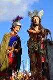 耶稣基督雕象给四旬斋圣周传统街道队伍带来了 库存照片