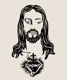 耶稣基督面对剪影,艺术传染媒介设计 免版税库存照片