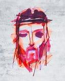 耶稣基督面对在他的激情 库存图片