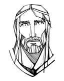 耶稣基督面对墨水例证 免版税图库摄影