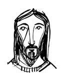耶稣基督面对墨水例证 免版税库存照片