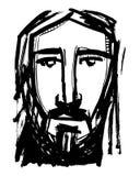 耶稣基督面对墨水手拉的例证 库存照片