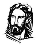 耶稣基督面对墨水手拉的例证 免版税库存图片