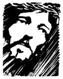 耶稣基督面对墨水手拉的例证 免版税图库摄影
