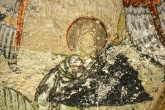 耶稣基督面对壁画,土耳其 库存照片