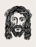 耶稣基督面对 图库摄影