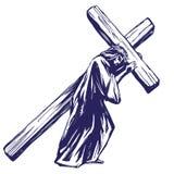 耶稣基督,圣子在十字架上钉死前运载十字架,基督教手拉的传染媒介例证的标志 库存图片