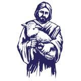 耶稣基督,圣子,在他的手上拿着一只羊羔,基督教手拉的传染媒介例证的标志 向量例证