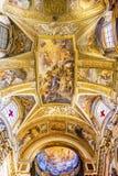 耶稣壁画圆顶天花板圣玛丽亚马达莱纳半岛教会罗马Ita 免版税库存照片