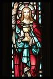 耶稣彩色玻璃 库存照片