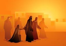 耶稣愈合流血的妇女 库存例证