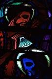 耶稣污迹玻璃窗的面孔 图库摄影