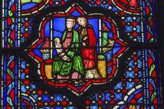 耶稣玛丽约瑟夫彩色玻璃Sainte Chapelle巴黎法国 免版税库存图片