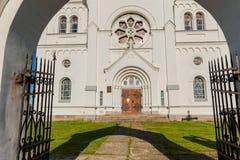 耶稣的心脏的庄严白色教会在Slobodka,白俄罗斯 库存照片