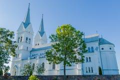 耶稣的心脏的庄严白色教会在Slobodka,白俄罗斯 免版税库存照片