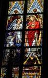 耶稣的耶稣圣心彩色玻璃在登博斯大教堂里 免版税库存照片