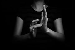 耶稣聋的手势语 免版税图库摄影