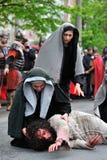 耶稣路分级法在山Calavary的 免版税库存照片