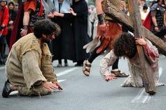耶稣路分级法在山Calavary的 库存照片