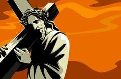 耶稣运载的交叉 免版税库存照片