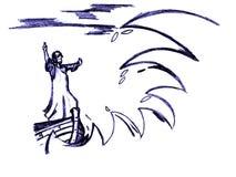 耶稣镇定风暴 库存照片