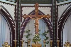 耶稣雕象迫害了 免版税图库摄影