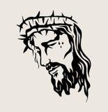 耶稣面对剪影,艺术传染媒介设计 图库摄影