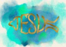 耶稣鱼标志 基督徒商标 水彩 免版税库存照片