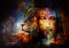耶稣绘画有一头狮子的在cosimc空间,目光接触和狮子描出画象 图库摄影