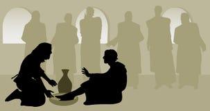 耶稣洗涤的传道者脚 皇族释放例证