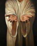 耶稣绘画的手 免版税库存图片