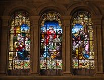 耶稣` s凯旋式词条场面到彩色玻璃的耶路撒冷里 库存照片