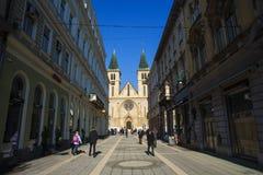 耶稣` s神圣的心脏大教堂,萨拉热窝 库存照片