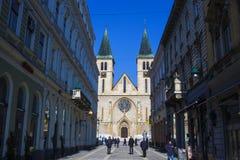 耶稣` s神圣的心脏大教堂,萨拉热窝 免版税库存照片