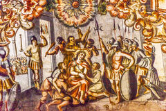 耶稣Atotonilco墨西哥嘲笑的耶稣壁画圣所  免版税图库摄影