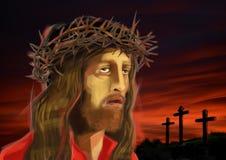 耶稣Christ's的数字式例证在带红色日落面对, 免版税库存图片