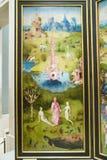 绘画耶罗尼米斯・博斯,尘世欢欣庭院,在博物馆de普拉多,普拉多博物馆,马德里,西班牙 库存照片