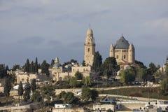 耶路撒冷、以色列- 2016年12月26日, Dormition Abby和耶路撒冷旧城 免版税库存图片