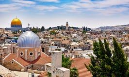 耶路撒冷全景屋顶视图 库存照片