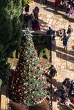 耶路撒冷国际基督教青年会,城市地标,塔顶视图修造的门面和圣诞树在entra前面 免版税库存照片
