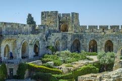 耶路撒冷城堡里面庭院  库存图片