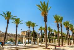 耶路撒冷城市墙壁的Mish'ol HaPninim庭院  库存照片